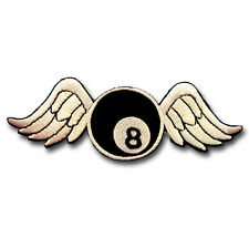 Number 8 Ball Lucky Pool Wing Fly Patch Embroidered Iron on Sew Badge Biker