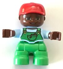 NEW Lego DUPLO BOY Med Blue Top Green Overalls RED Cap Worm in Pocket BROWN Head