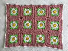 Vintage Pink DAISY - HandMade Crochet Oblong Baby Blanket/Throw Newborn Gift