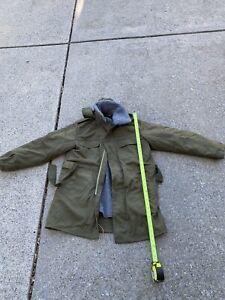 Vintage German Army Parka w/Hood & Button In Liner. Long Length & Heavy