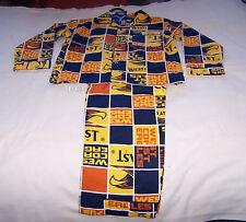 West Coast Eagles AFL Boys Blue Gold Squares Flannel Pyjama Set Size 10 New