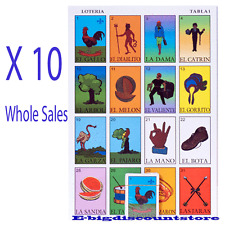 Lot of 10 PK MEXICAN LOTERIA BINGO GAME 10 PLYAERS 10 BOARDS 54 CARDS Whole Sale