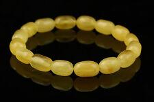 Butter Olive Barrel Beads Genuine Baltic Amber Stretch Bracelet 5.5g b141124-6