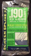"New In Sealed Bag - .190""X 25' Gray Screen Spline"