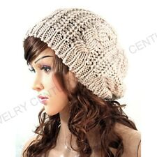 Fashion Womens Winter Warm Knit Crochet Ski Hat Braided Baggy Beret Beanie Cap