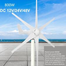 800W Power 6 Blades Wind Turbine Generator Kit DC 24V Waterproof White US