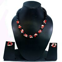 Black Onyx & Artificial Coral  Necklace & Earing Set Black , Red & White Color