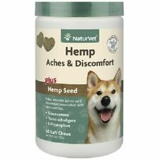 NaturVet Hemp Aches & Discomfort Glucosamine Soft Chew for Dogs 60ct Jar