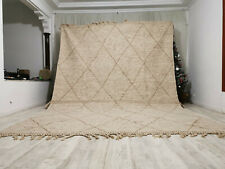 Moroccan Large Handmade Reversible Wool Carpet 9'x13 Zanafi Flat Cream Beige Rug
