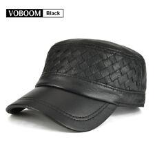 VOBOOM 100% Genuine Leather Black Army Cap Hat Mens Weave Flat Cap Golf  Cabbie 7c32b47c3272