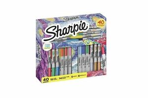 Sharpie 40 Markers Holiday Set Neon & Metallic Assorted Colors Ultra Fine Point
