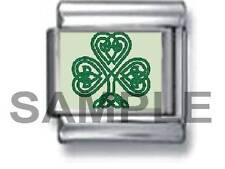 IRISH CELTIC SHAMROCK 9MM ITALIAN CHARM LINK St Patrick Ireland lucky green