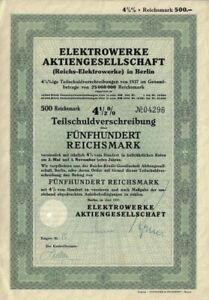 Elektrowerke Aktiengesellschaft 4,5 % Anleihe 1937 500 RM