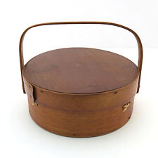 Antique Shaker Round Sewing Box Basket Carrier w/ Swing Handle ~ AAFA