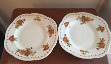 Woods Ivory Ware Floral Dinner/ Sandwich Plates X2