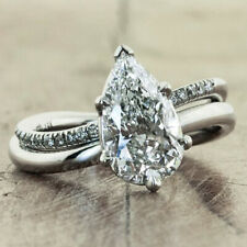 Fashion 925 Silver Huge White Topaz Ring Droplet Wedding Party Jewelry Size 6