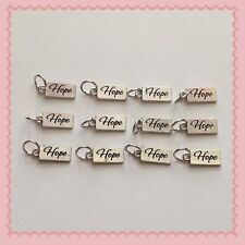 12 Silvertone Hope Cancer Awareness Charms Jewelry DIY Earrings Bracelet Q5
