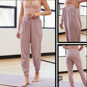Free People Trekking Out Comfort Jogger New $118 Purple Mauve Small