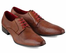 BRAND NEW MEN'S BROWN PATTERNED LEATHER LACE-UP SMART SHOES SIZE UK 10 / EU 44