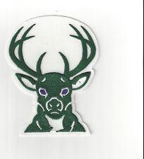 "Milwaukee Bucks White Background 4"" x 5"" Sew On Patch Sticky Back Strips NBA"