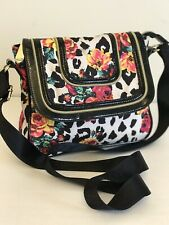 Betsy Johnston Crossbody Bag Bright Print Monagramed Strap Graphic Interior