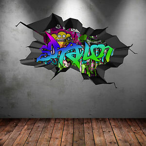 FULL COLOUR PERSONALISED 3D GRAFFITI NAME CRACKED WALL ART STICKERS DECAL WSD120