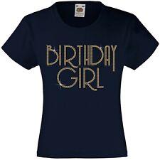 BIRTHDAY GIRL Rhinestone/Diamanté Embellished T Shirt - Beautiful Gift for Girls