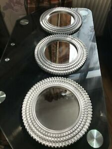 SET OF 3 SMALL SILVER ROUND MOROCCAN ART WALL MIRRORS KITCHEN ROOM DECOR NEW