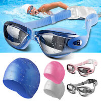 Mirror Swimming Goggles Anti-Fog UV Protection With Swim Cap For Adult Women Men