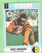 1977 SCANLENS RUGBY LEAGUE CARD  -  #70 DAVE EDWARDS, BALMAIN TIGERS