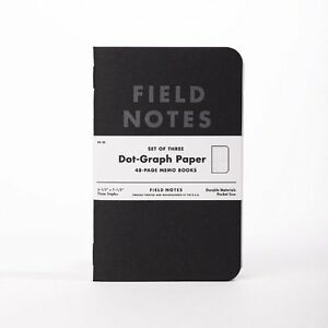 Field Notes Pitch Black Edition Dot-Graph 3-Pack Memo Books