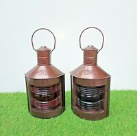 Maritime Vintage Style Nautical Boat Ship Lantern Set of 2 Oil Lamp Red & Green