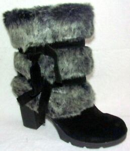 New BEARPAW Bridget Black & Gray Suede and Faux Fur Block Heel Boots 11 M