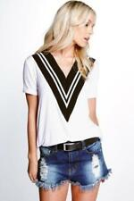 Striped V Neck T-Shirts Size Petite for Women