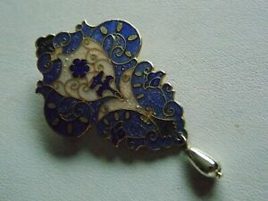 Sweet Antique Inspired Blue Cloisonne Enamel  Fob Brooch by FIsh