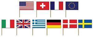 50 INTERNATIONAL FLAG COCKTAIL STICKS PICKS CUPCAKE SANDWICH PARTY FOOD DECOR