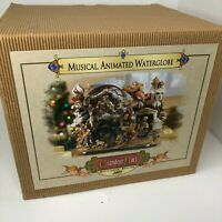 Musical Water Globe Grandeur Noel Nativity Music Box Carousel Christmas 2003
