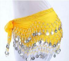 Chiffon Belly Dance Hip Scarf Wrap Belt Tribal Coin Sash Skirt