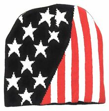 100% Cotton USA American Knit Winter Cap, American Flag Skull Cap Stars Stripes