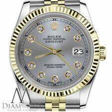 Rolex 31mm Datejust 2 Tone Gunmetal Grey Diamond Dial Ladies Size 18K & Steel