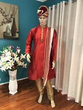 "38"" S To M Sherwani Suit Indian Bollywood Mens Kurta Maroon Red Outfit HL26"