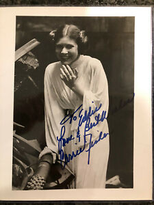 Carrie Fisher Star Wars Signed 8 X 10 Photo Inscribed