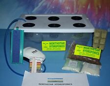 "6 SITE HYDROPONIC GROW BOX SYSTEM  COMPLETE W/  2"" NET POT  NUTRIENTS & pH TEST"