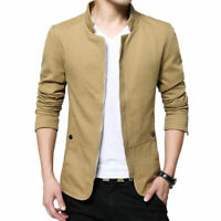 NEW Men's Jacket Slim Fit Collar Cotton Coat Fashion Casual Outwear Jacket Coats