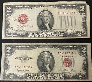Lot Of 2: Two Dollar US Red Seal Jefferson Note Bill US Currency 1928 G & 1953