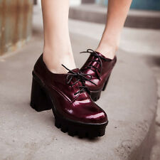 Womens Shoes Lace up Creeper Brogues Platform High Heel Pump patent Leather Shoe
