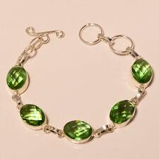 """Shiny Green Amethyst Gemstone 925 Sliver Fashion Jewelry Bracelet 6-8"""" Sj-15525"""