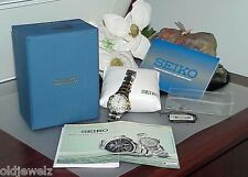 Ladies Seiko COUTURA MOP PINK DIAL 16 DIAMOND WATCH  Box papers Sapphire Crystal