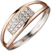 Ring Damenring mit Zirkonia weiß in drei Reihen 925 Silber rotvergoldet Damen