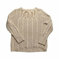 Lauren Conrad Knit Pullover Long Sleeve Sweater Solid Tan Beige Womens Size XL